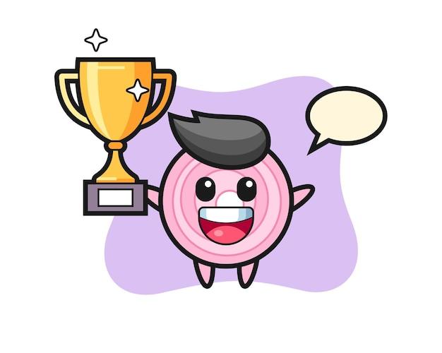 Cartoon illustratie van uienringen is blij met het omhoog houden van de gouden trofee, schattig stijlontwerp voor t-shirt, sticker, logo-element