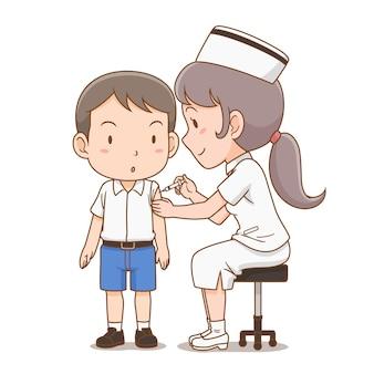 Cartoon illustratie van verpleegster die een injectie geeft aan student jongen.