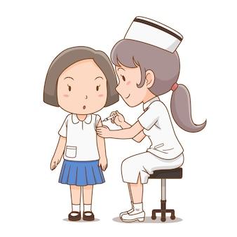Cartoon illustratie van verpleegster die een injectie geeft aan studentenmeisje.