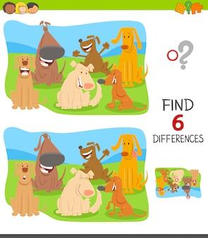 Cartoon illustratie van verschillen zoeken spel