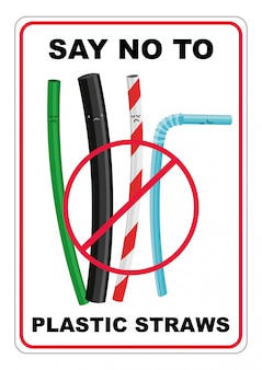 Cartoon illustratie van verschillende soorten rietjes, nee zeggen tegen plastic rietjes voor eenmalig gebruik