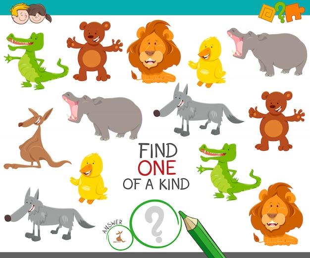 Cartoon illustratie van vinden een van een soort foto educatieve activiteit spel met schattige wilde dieren tekens