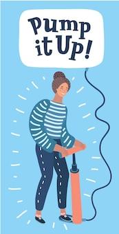 Cartoon illustratie van vrouw pompt een ballon op met hand getrokken belettering