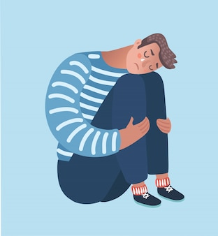 Cartoon illustratie van wanhopige man omhelst zijn knie en huilt als hij alleen op de grond zit. isooled karakters op een witte achtergrond.