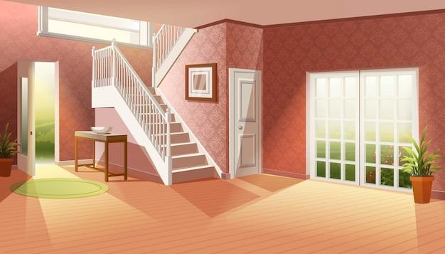 Cartoon illustratie zonder meubels. grote lege woonkamer met grote ramen naar de tuin en entree met grote trap.