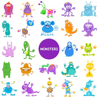 Cartoon illustraties van monsters grote reeks