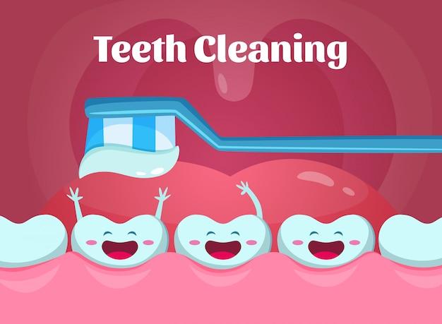 Cartoon illustraties van schattige en grappige tanden in de mond.