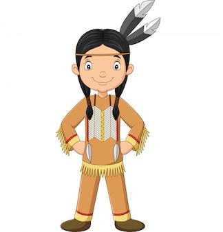 Cartoon indiaanse indiase meisje