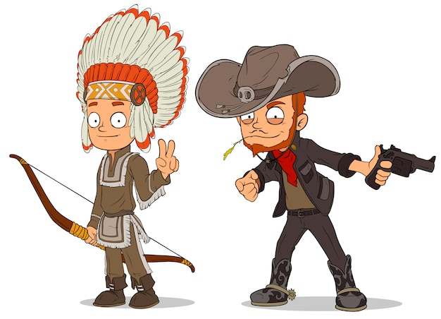Cartoon indiase jongen en cowboy tekenset