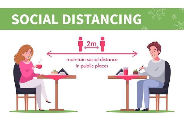 Cartoon infographics met mensen die sociale afstand houden in café
