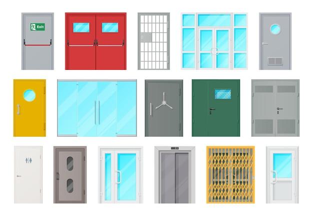 Cartoon interieur- en exterieur designelementen voor kamer- of kantoordecoratie