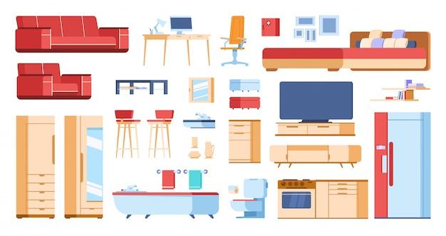 Cartoon interieur meubilair. huis woonkamer slaapkamer kast plat geïsoleerde bank kleerkast tafel. cartoons huiselementen