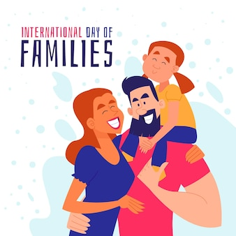 Cartoon internationale dag van gezinnen illustratie
