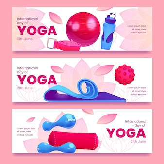Cartoon internationale dag van yoga banners set