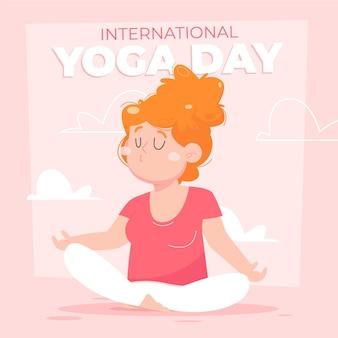 Cartoon internationale dag van yoga illustratie