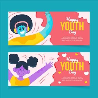 Cartoon internationale jeugddag banners set