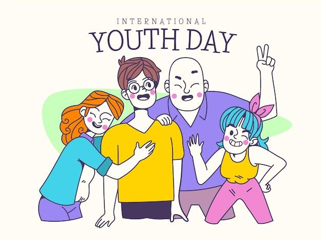 Cartoon internationale jeugddag illustratie