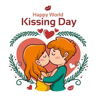 Cartoon internationale kussende dag illustratie