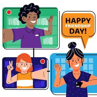Cartoon internationale vriendschap dag illustratie