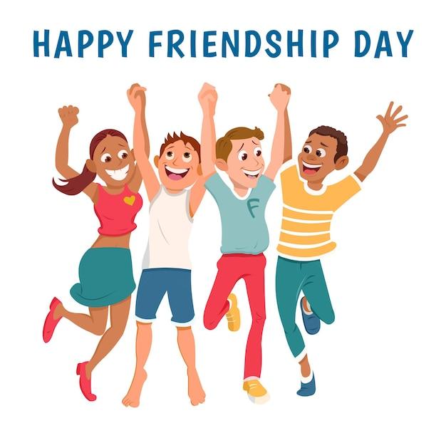 Cartoon internationale vriendschapsdag vector