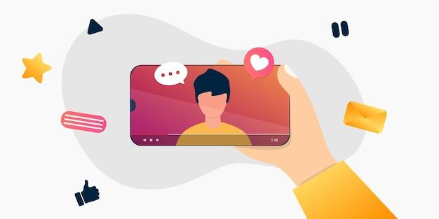 Cartoon internetblogger die media-inhoud opneemt. influencer filmt videoblog. jongen fotografeert op zijn smartphone