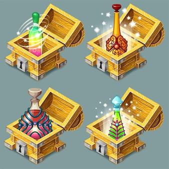 Cartoon isometrische kisten met elixers