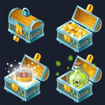 Cartoon isometrische kisten met schatten.