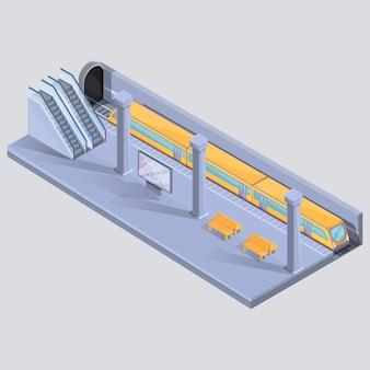 Cartoon isometrische metrostation met trein bij halte, vectorillustratie