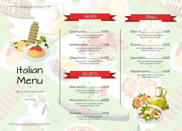 Cartoon italiaanse keuken café of restaurant menu sjabloon illustratie