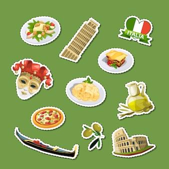 Cartoon italiaanse keuken elementen stickers set illustratie