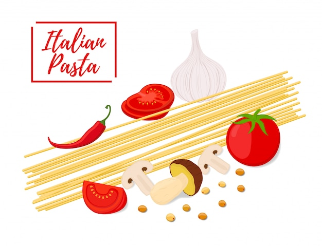 Cartoon italiaanse pasta, verse tomaten