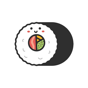 Cartoon japans eten met schattige gezichten