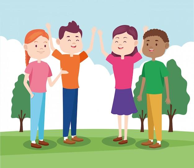 Cartoon jeugdvrienden in het park