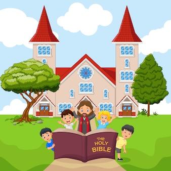 Cartoon jezus met kinderen in een kerk