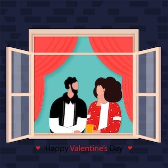 Cartoon jong koppel kijken elkaar venster voor happy valentine's day concept