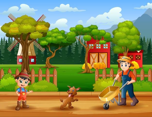 Cartoon jonge boeren die werken op de boerderij