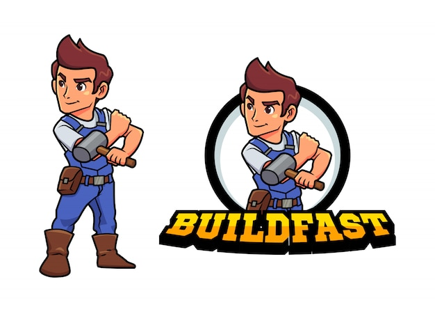Cartoon jonge bouwer klusjesman of reparateur holding hammer character mascot logo