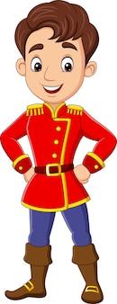 Cartoon jonge man die prinskostuum draagt