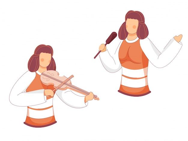 Cartoon jonge meisjes zanger en gitarist op wit.