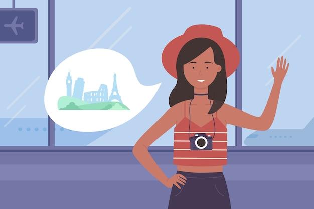 Cartoon jonge reiziger permanent in luchthaven terminal hal interieur en zwaaien