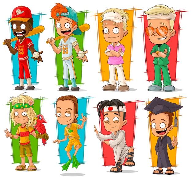 Cartoon jonge sport speler karakter