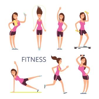 Cartoon jonge vrouw personages, fitness meisje geïsoleerd op wit