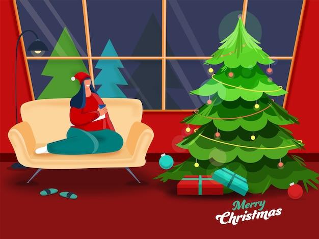 Cartoon jonge vrouw thee of koffie drinken op bank met geschenkdozen en decoratieve kerstboom in woonkamer voor vrolijk kerstfeest.