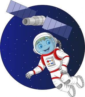 Cartoon jongen astronaut vliegen in de ruimte