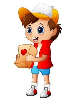 Cartoon jongen cadeau pakketten geven