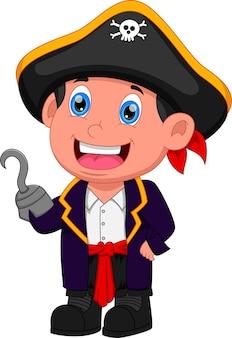 Cartoon jongen draagt een piratenkostuum