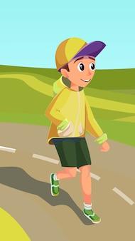 Cartoon jongen draait op het goede spoor. kid marathon run