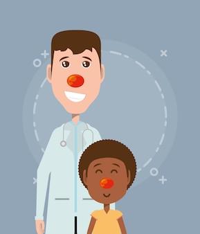 Cartoon jongen en arts met rode neus