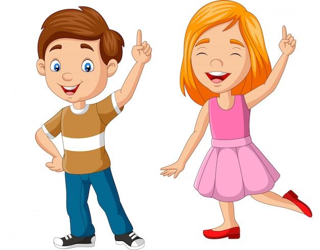 Cartoon jongen en meisje met nummer één