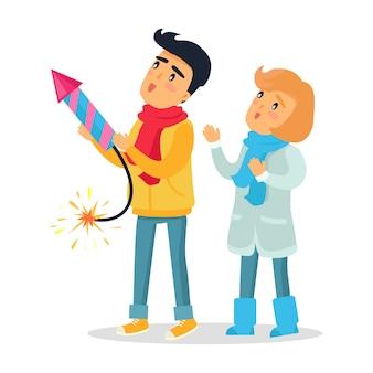 Cartoon jongen en meisje op weg vuurwerk raket.